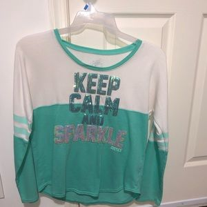 "JUSTICE SIZE 20 ""KEEP CALM AND SPARKLE"" WARM SHIRT"